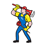 Monkey Digital Art - Plumber Carrying Wrench Plunger Cartoon by Aloysius Patrimonio