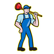 Repairman Framed Prints - Plumber Holding Plunger Standing Cartoon Framed Print by Aloysius Patrimonio