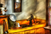 Oil Lamp Metal Prints - Plumber - The Wash Basin Metal Print by Mike Savad