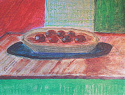 Vitamins Paintings - Plums 1 by Richard W Linford