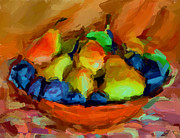 Interior Still Life Metal Prints - Plums and Pears Metal Print by Yury Malkov