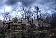 Haunted House  Digital Art Prints - Plunkett Mansion Print by Tom Straub