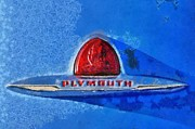 Vintage Hood Ornament Painting Prints - Plymouth badge Print by George Atsametakis