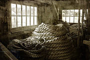 Brown Toned Art Framed Prints - Plymouth Cordage Company Ropewalk Framed Print by Cindi Ressler