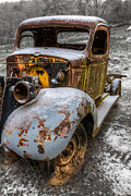 Snow Scenes Metal Prints - Plymouth Truck Metal Print by Debra and Dave Vanderlaan