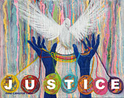 Human Rights Painting Framed Prints - Pms 20 Justice Framed Print by Anne Cameron Cutri