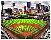 Pittsburgh Digital Art Framed Prints - PNC Park- Home of the Pittsburgh Pirates Framed Print by Charles Ott