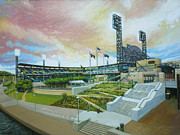 Roberto Clemente Painting Originals - PNC Park Pittsburgh Pirates by Gregg Hinlicky
