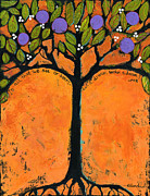 Organic Painting Framed Prints - Poe Tree Art Framed Print by Blenda Studio