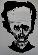 Novelist Drawings Framed Prints - Poe Framed Print by Will  Carlson