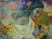 Live Art Painting Prints - Poem at Twilight Print by Dorina  Costras