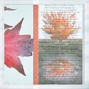Leaves Digital Art Acrylic Prints - Poetry of Autumn Acrylic Print by Linda Lees