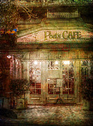 Night Cafe Framed Prints - Poets Cafe Framed Print by Russ Brown