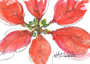 Christmas Flower Paintings - Poinsettia 9 2013 by Kathleen McElwaine