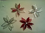 Copper Foil Glass Art - Poinsettia Christmas Tree Ornaments by Liz Shepard