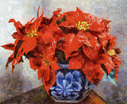 Joseph Frank Baraba Painting Prints - Poinsettia In Blue Bowl Print by Joseph Frank Baraba