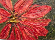 Impasto Oil Paintings - Poinsettia Sgraffito  by Maria Soto Robbins