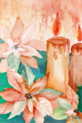 Poinsettias Paintings - Poinsettias and Candlelight by Marsha Woods