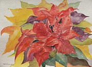 Poinsettias Paintings - Poinsettias by Geeta Biswas