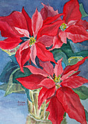 Poinsettias Paintings - Poinsettias in Gold by Joan Coffey