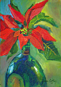 Poinsettias Paintings - Poinsettias by Joan Coffey