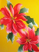 Navidad Paintings - Poinsettias by Maria Ferreris