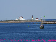 New England. Pyrography Prints - Point    Judith  Lighthouse Print by Susan Russo