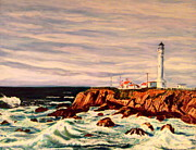 Nancy Rucker Posters - Point Arena Lighthouse Historic Northern CA Poster by Nancy Rucker