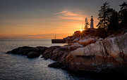 Water Reflections Photos - Point Atkinson Sunset by Alexis Birkill