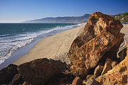 Surf Art Framed Prints - Point Dume Overlooking Zuma Beach Framed Print by Adam Romanowicz