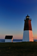New England Lighthouse Prints - Point Judith- Sidelit at Sunset Print by Thomas Schoeller