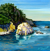 Point Park Painting Posters - Point Lobos Rock Poster by Alice Leggett