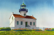 Lighthouses Paintings - Point Loma Lighthouse by Mary Helmreich