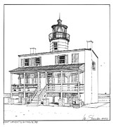Maryland Drawings Posters - Point Lookout Lighthouse Poster by Ira Shander