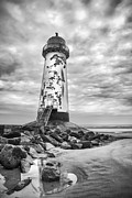 Puddle Paint Prints - Point of Ayr Lighthouse Print by Christine Smart