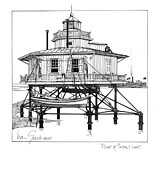 Featured Drawings Posters - Point of Shoals Lighthouse Poster by Ira Shander