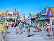 New Art Pastels Prints - Point Pleasant Beach Boardwalk Print by Melinda Saminski