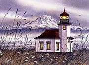 Lighthouse Art Paintings - Point Robinson Lighthouse by James Williamson