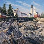 Pemaquid Lighthouse Painting Framed Prints - Point Rocks Framed Print by Will Kefauver
