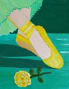 Physique Paintings - Point Shoes in Yellow by Margaret Harmon