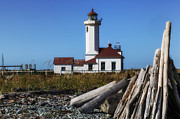 Driftwood Framed Prints - Point Wilson Lighthouse Framed Print by Garry Gay