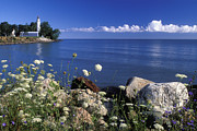 North American Inland Sea Framed Prints - Pointe aux Barques and Summer Wildflowers - FS000823 Framed Print by Daniel Dempster