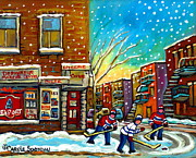 Hockey In Montreal Paintings - Pointe St. Charles Hockey Game At The Depanneur Montreal City Scenes by Carole Spandau