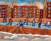 Hockey Rinks Paintings - Pointe St. Charles Hockey Rink Southwest Montreal Winter City Scenes Paintings by Carole Spandau