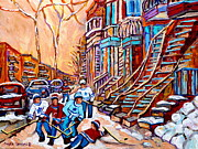 Montreal Winter Scenes Prints - Pointe St.charles Hockey Game Near Winding Staircases Montreal Winter City Scenes Print by Carole Spandau