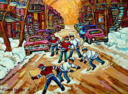 Montreal Winter Scenes Prints - Pointe St.charles Hockey Game Winter Street Scenes Paintings Print by Carole Spandau
