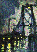 Halifax Art Prints - Pointilist version of MacDonald Bridge on a Rainy Night Print by John Malone