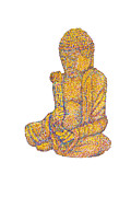Pointillist Prints - Pointillist Buddha Print by Jeffrey Woodley