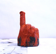 Red Sculpture Posters - Pointing Finger of Blame - Lava Poster by Mark M  Mellon