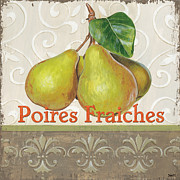 Fresh Fruit Painting Posters - Poires Fraiches Poster by Debbie DeWitt